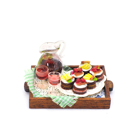 Wooden Tray with Sangria and Pastries