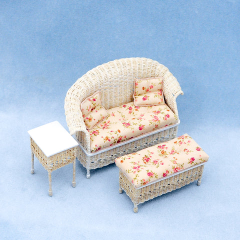 Three Piece Wicker White, Floral