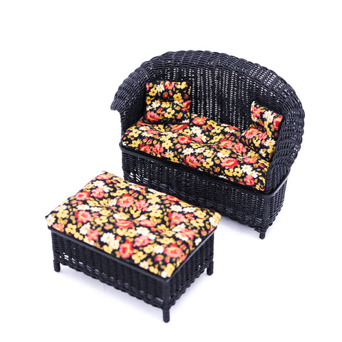 Wicker Settee and Ottoman, Black with Floral Chintz