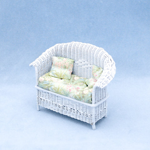 Wicker Settee with Tropical Fabric