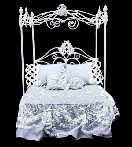 White Metal Canopy Bed, Blue