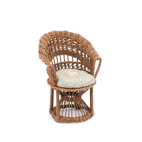 Wicker Chair with Monkey Fabric