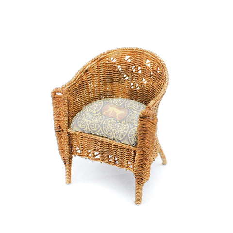 Wicker Chair with Monkey Fabric Low Back