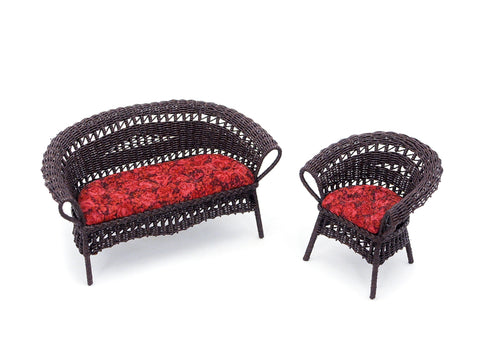 Wicker Settee and Chair, Dark Brown and Red