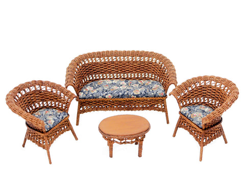 Wicker Furniture Set, Four Piece, Natural with Dark Floral