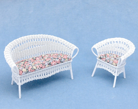 Wicker Set, White with Floral Chintz