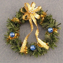 Christmas Wreath, Blue and Gold