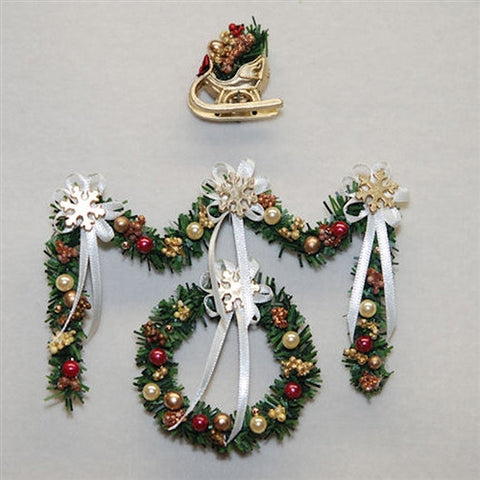 Christmas Garland and Wreath Set, Gold and Burgandy