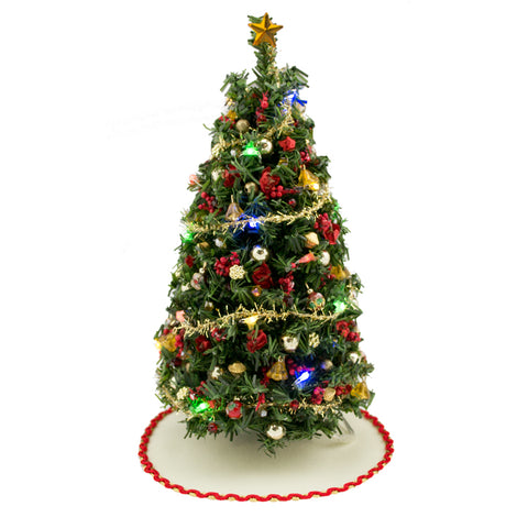 "7"" Lighted Ultimate Christmas Tree with Red and Gold Trim"