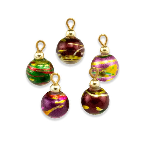 Multi-Colored Painted Glass Christmas Ornament, Set of Five