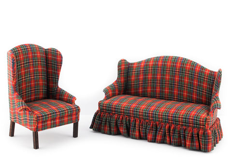 Red and Green Plaid Living Room Set by D. Anne Ruff