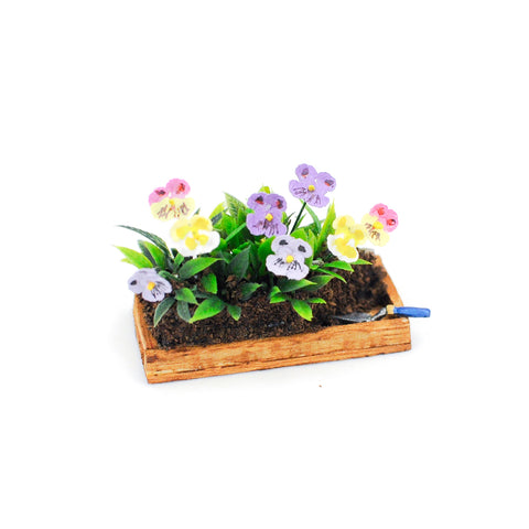 dollhouse miniature flat of pansies