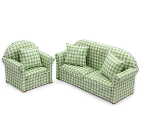 Green and White Check Living Room Set 2pc