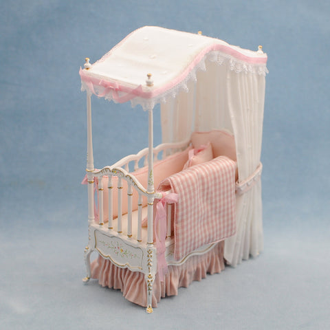 White and Pink Canopy Crib by Lorraine Scuderi