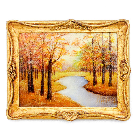 "Reproduction ""Oil Painting"", Fall Woodlands with Stream"
