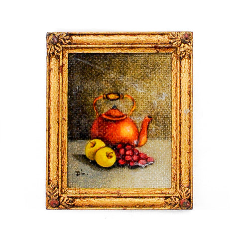 Oil Painting of Teapot and Fruit