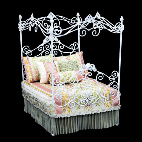 White Metal Canopy Bed, Pink and Green