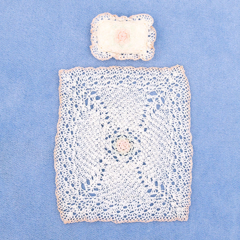 Crocheted Lace Baby Blanket and Pillow Set