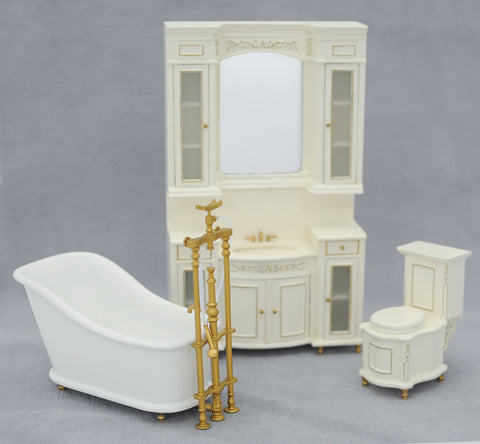 Italia Bathroom Set, White Wash Finish On Sale!