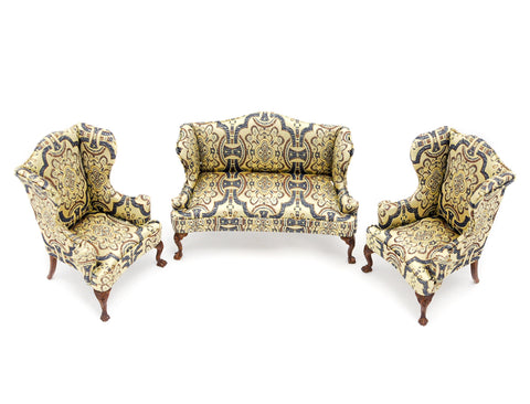 Three Piece Living Room Set, Blue and Gold