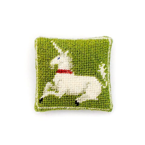 Green Micro-Stitched Unicorn Pillow