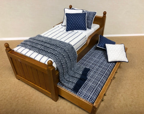 Trundle Bed, Walnut with Blue and White Stripe
