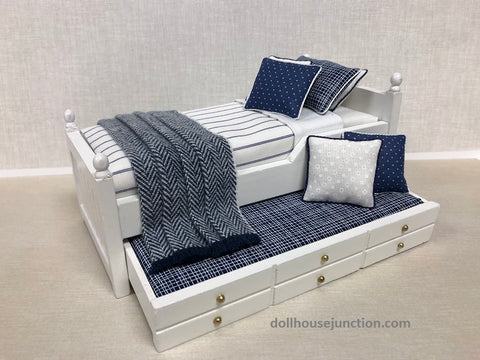 Trundle Bed, White with Blue and White Stripe
