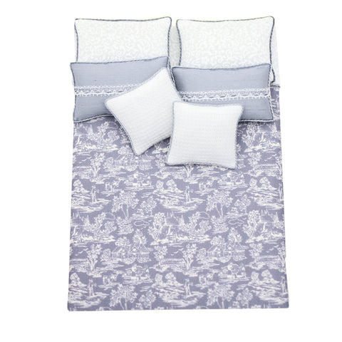 Bed Linen Set, Double White on Grey Toile, Silk