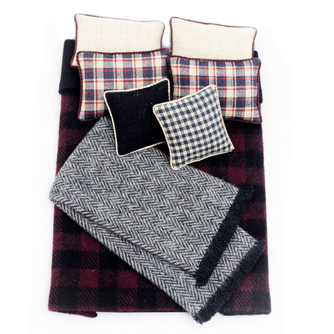 Double Bed Comforter and Pillow Set, Red and Blue Plaid