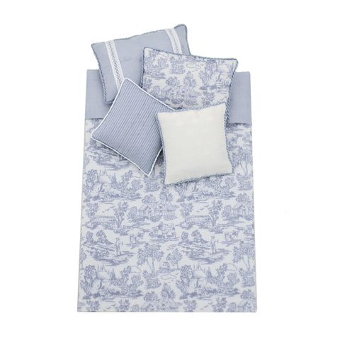Bed Linens, Single, Grey and White Toile
