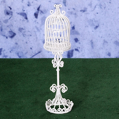 Bird Cage, White Metal