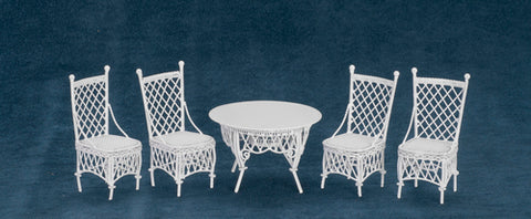 Metal Wicker Table and Chair Set, White