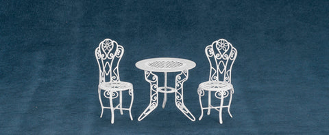 Patio Table and Chairs, White Metal