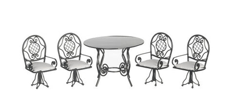 Patio Table and Chair Set with Swivel Chairs
