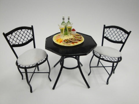 Table and Chairs, Black Metal Bistro Style