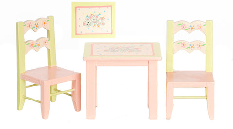 Child Size Table and Chairs, Pastel Colors