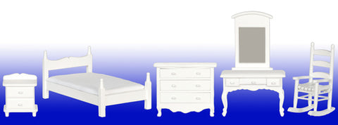 Bedroom Set, Five Piece, Classic White BACK IN STOCK