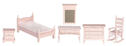 Bedroom Set, Five Piece, Soft Pink