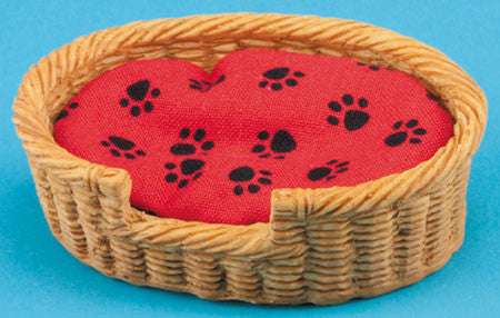 Pet Bed Basket, Rectangular Red with Paws