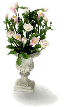 White Urn with Pink Roses