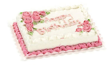 Birthday Sheet Cake With Pink Roses Dollhouse Junction