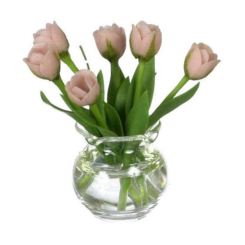Tulips, Coral, Glass Vase