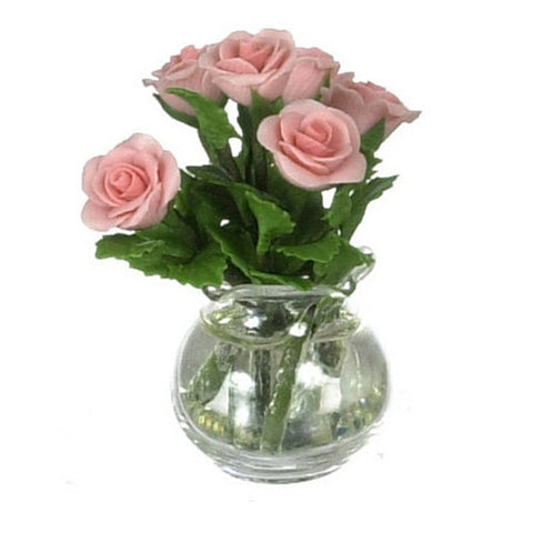 Roses in Glass Vase, Coral