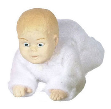 Crawling Baby, White Pajamas