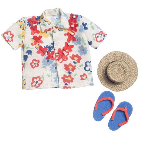 Hawaiin Shirt, Hat and Sandal Set,