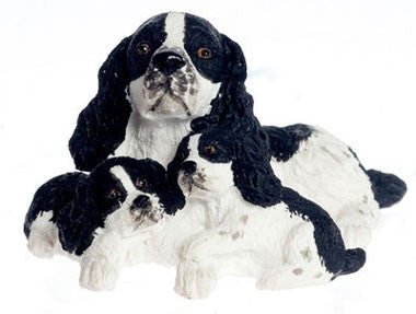 Springer Spaniel with Puppies, Black and White