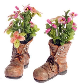 Pair of Boots Filled with Pansies