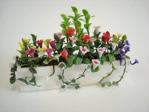 Window Box, White with Multi Color Flowers