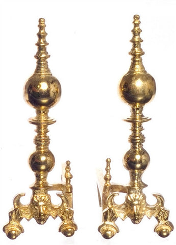 Andirons, Lion Style, Period Brass