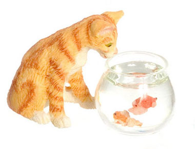 Cat with Fish Bowl, Orange Tabby